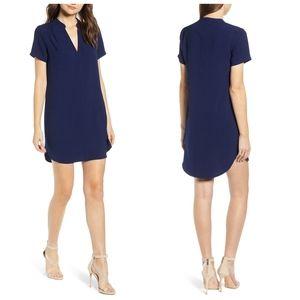 All in Favor Navy Blue Split-Neck Shift Dress